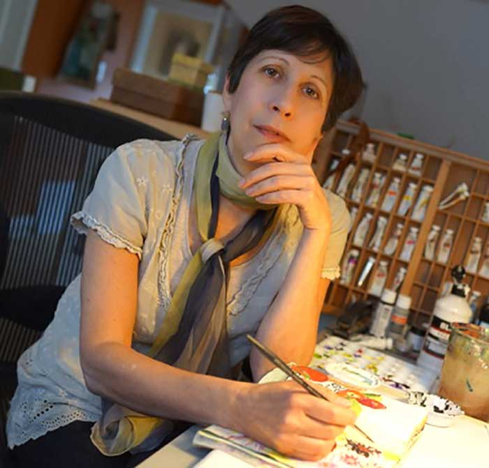Jennifer Orkin Lewis (aka August Wren) at work in her studio.