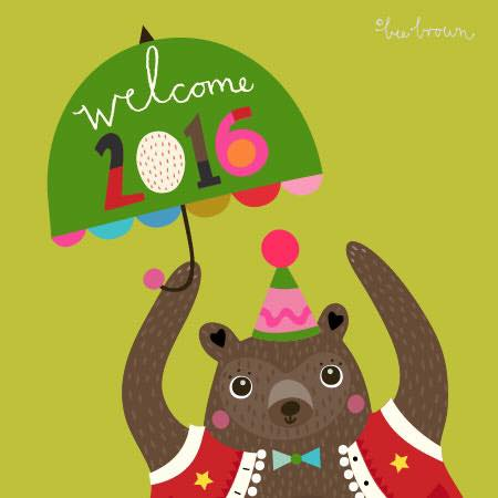 Bee Brown's charming bear greets the New Year!