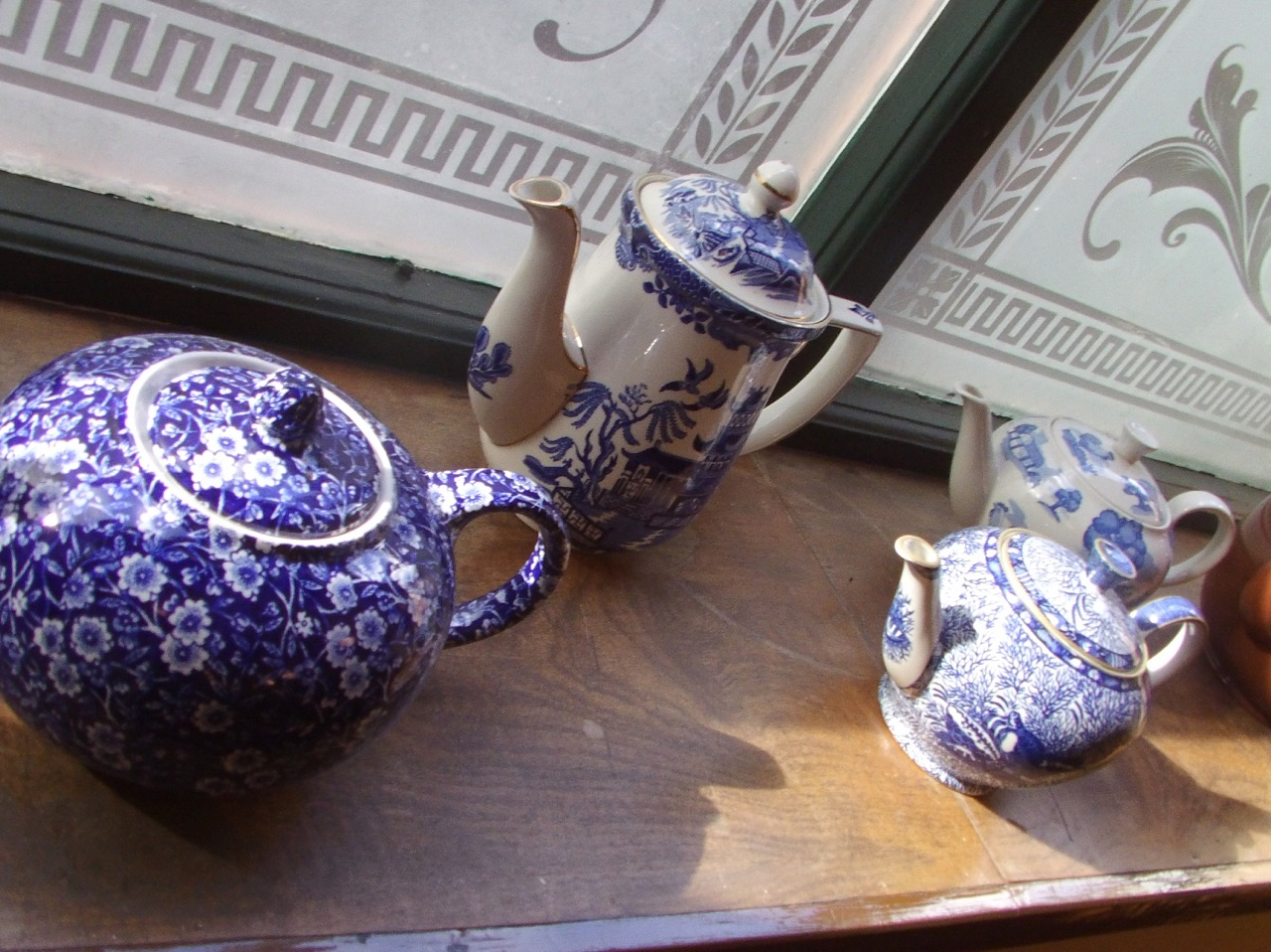 Burleigh ware in the museum with the original office windows