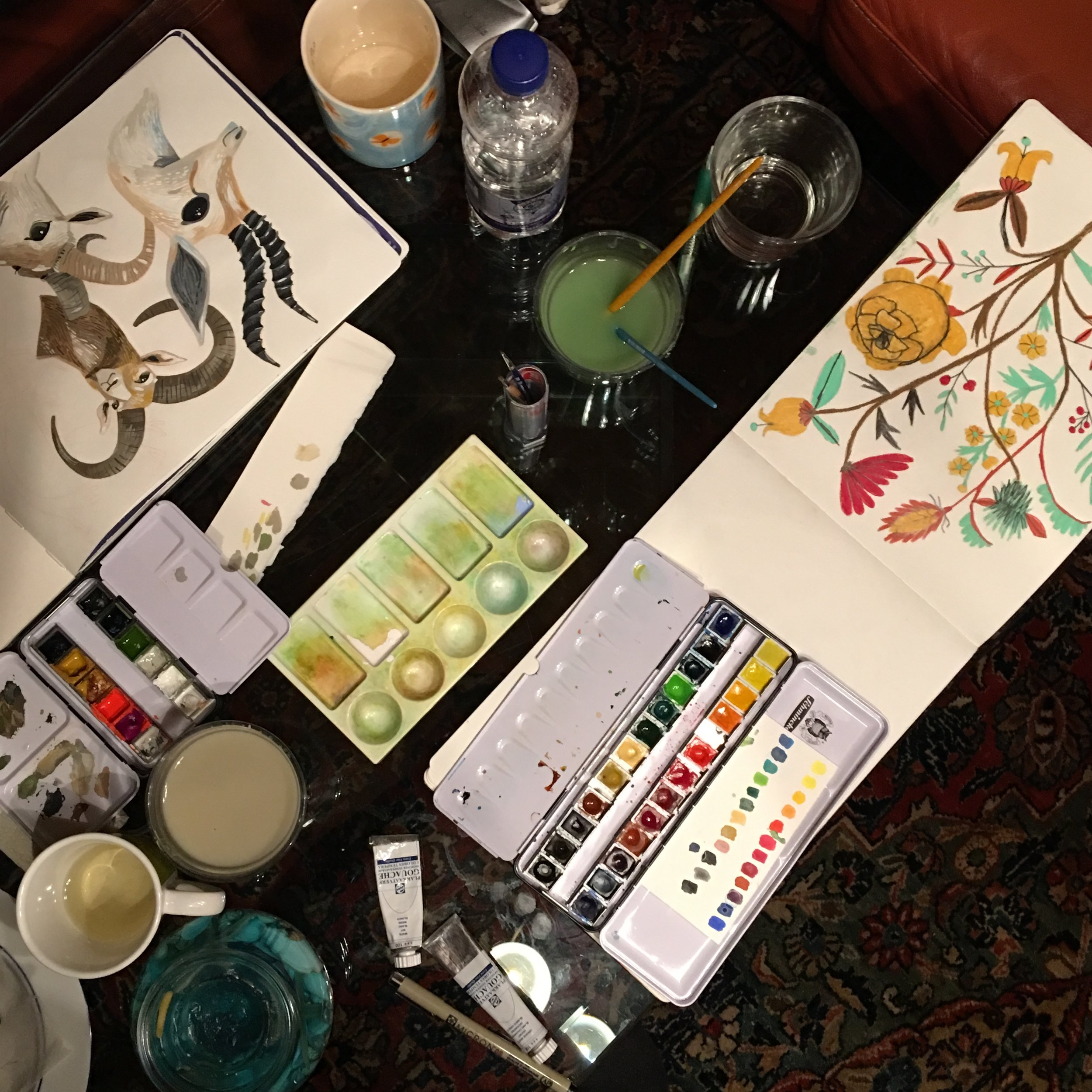 Rae Ritchie sketchbook (left) and Anisa Makhoul's (right)