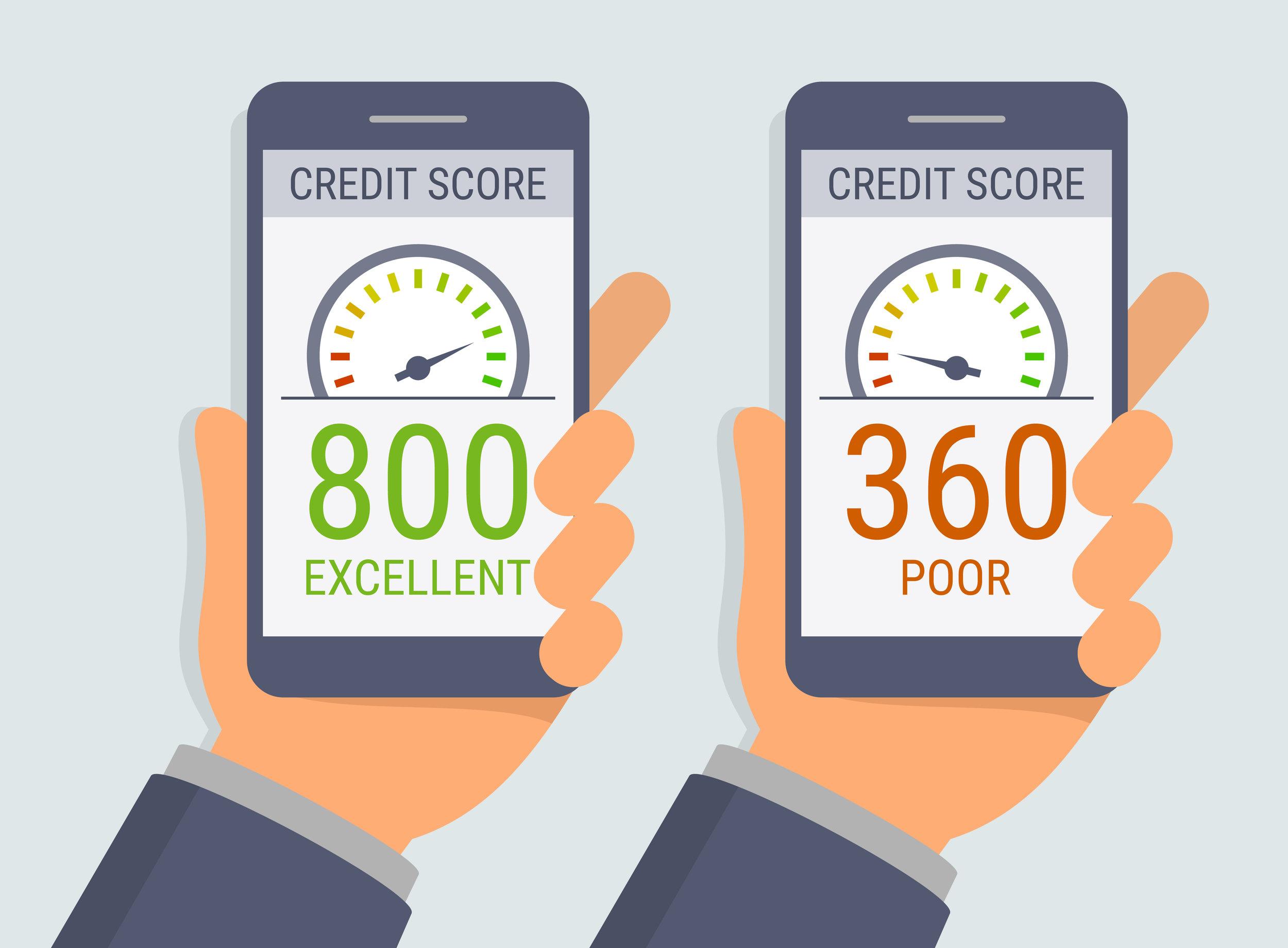 good credit score v poor credit score