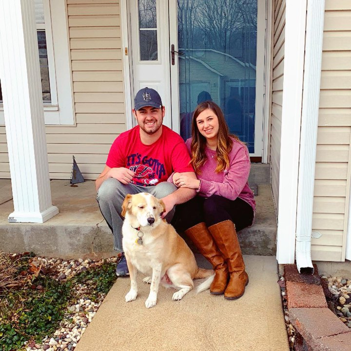 Lauren with fiance, Zach. In front of their home.  Photo submitted with approval by Lauren B.