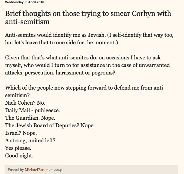 Michael Rosen on Corbyn, Antisemitism and the role of the Left...