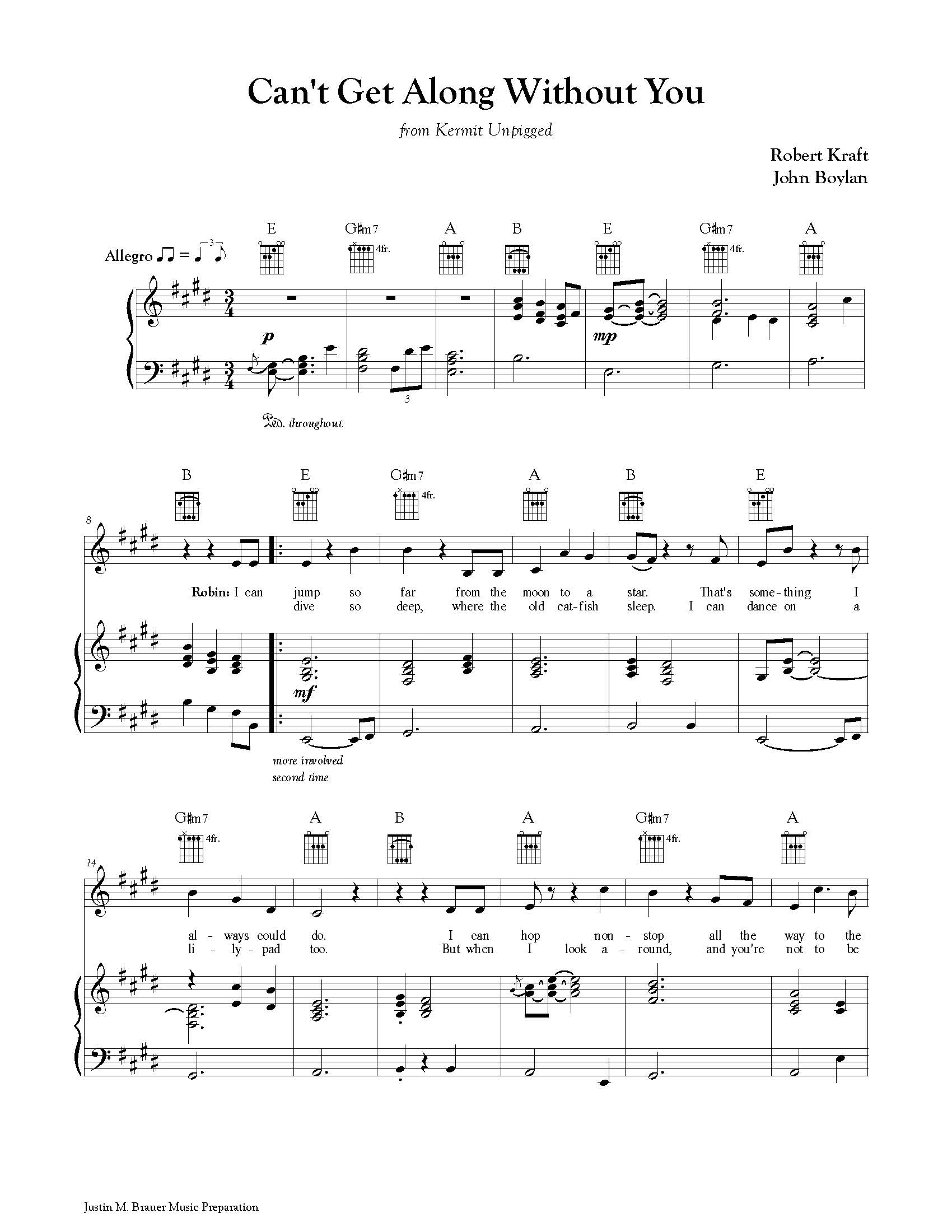 Piano/Vocal with Chords and Fretboards (transcription and engraving) -  Can't Get Along Without You from  Kermit Unpigged