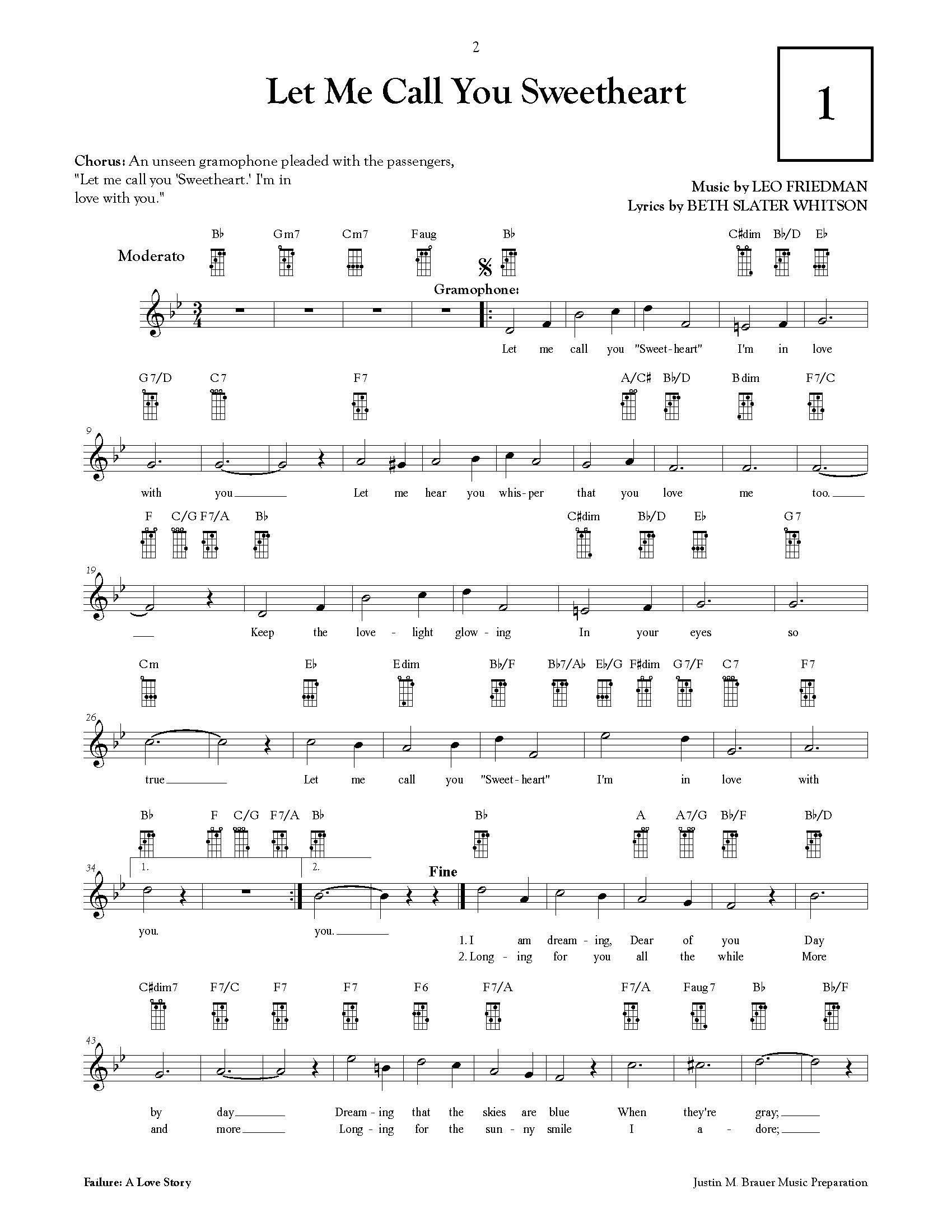 Lead Sheet with Ukulele Fretboards (engraving) -  Vocal score for  Failure: A Love Story