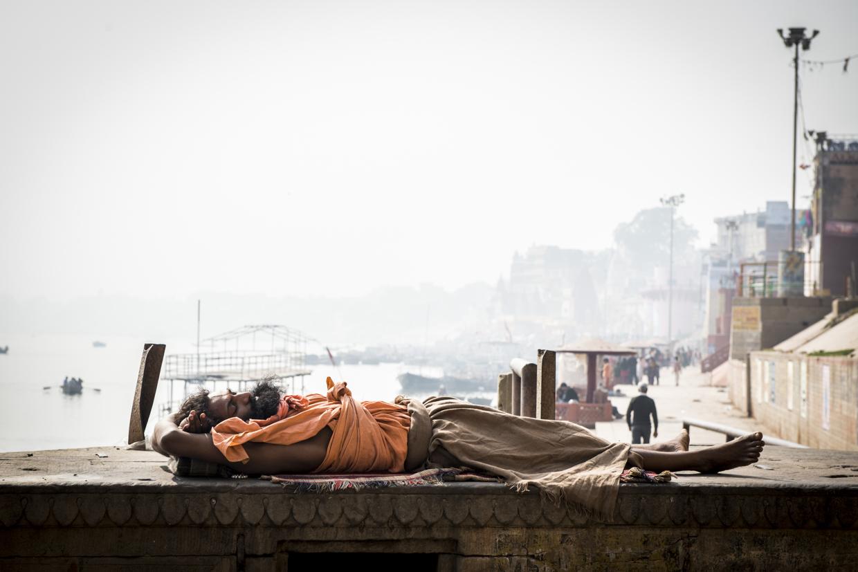 An after noon nap in Varanasi, India.
