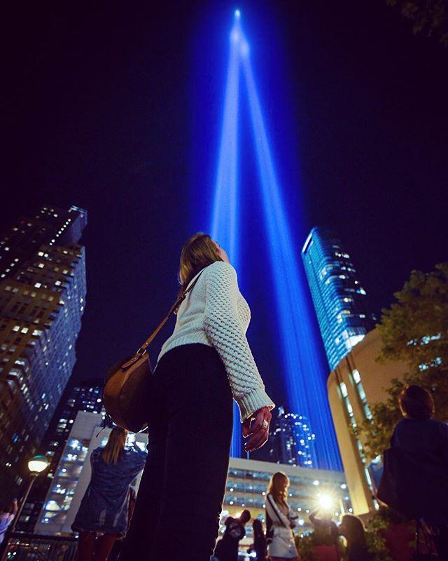 Watching the tribute of light. #tributeoflight #manhattan #911 #newyork #twintowers #oneworldtradecenter #memorial #tribute #neverforget #travel #travelphotography #nikon #nikond750