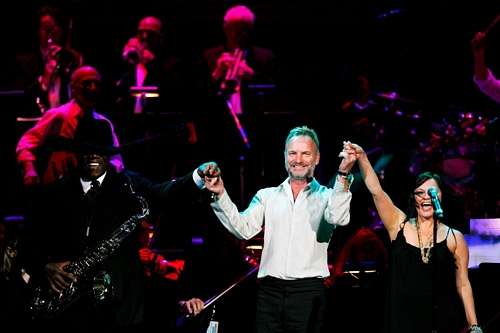 Sharing the stage with Sting at the Rainforest Benefit, Carnegie Hall, NYC