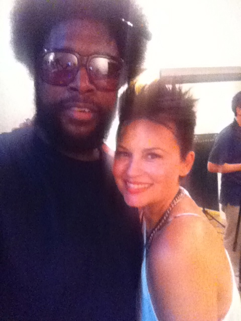 "Me and Questlove, rehearsing for the 4th of July show with ""The Roots"" in Philly"