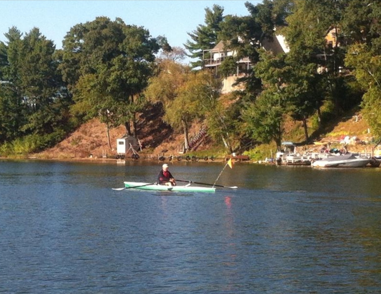 Al rowing about the lake, fall 2014