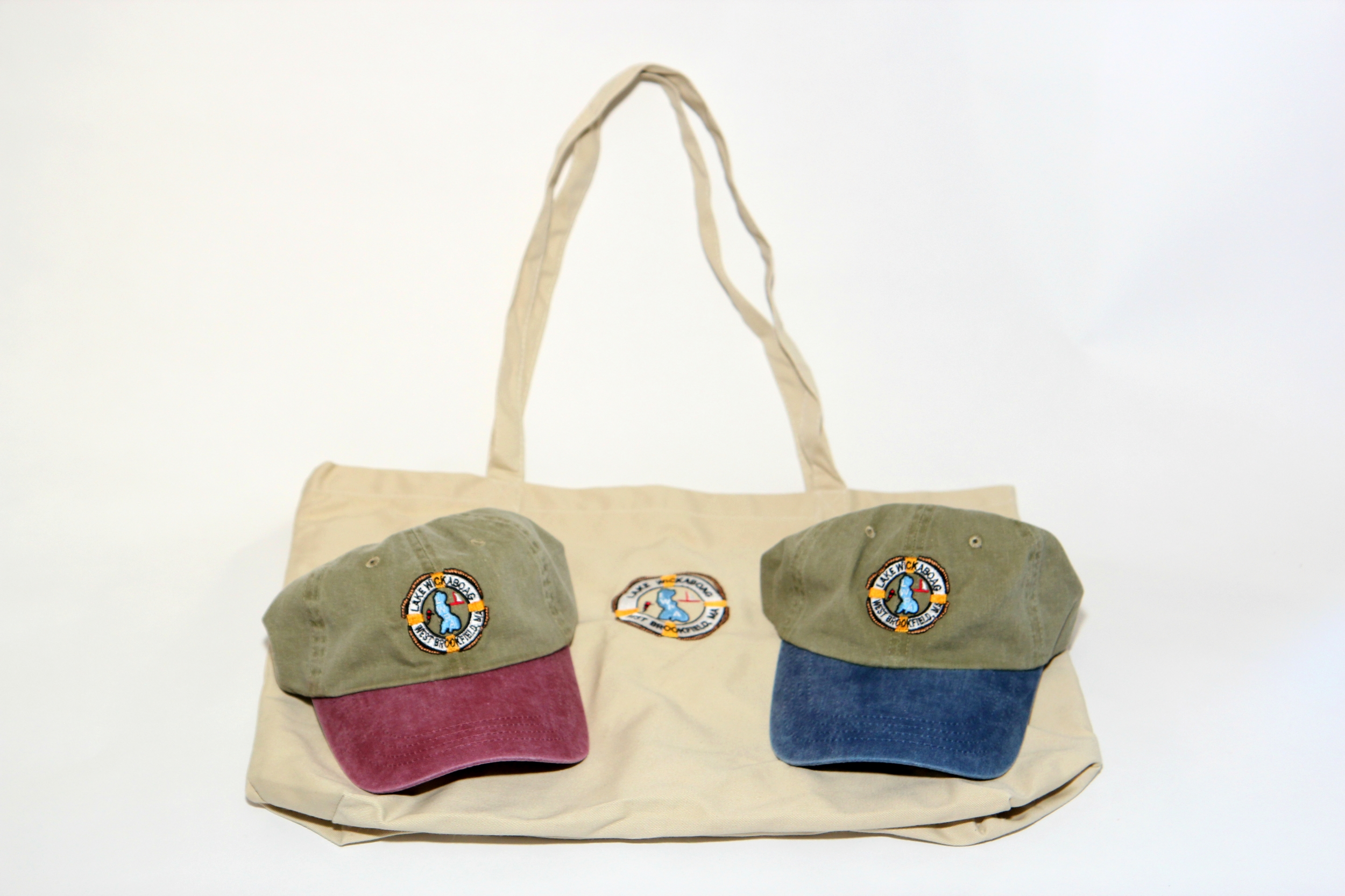 Baseball Hats $20 and Totes with embroidered logo $25