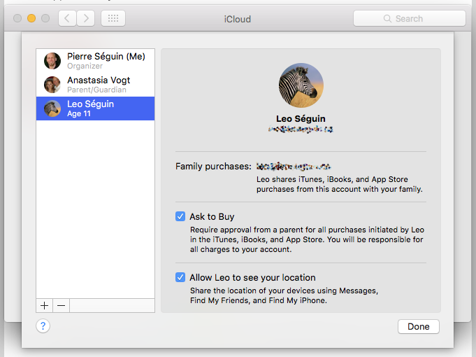 """The iCloud """"Manage Family"""" settings screen on iOS."""