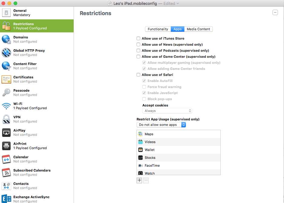 One of Apple Configurator's screens, showing some of its app restriction capabilities.
