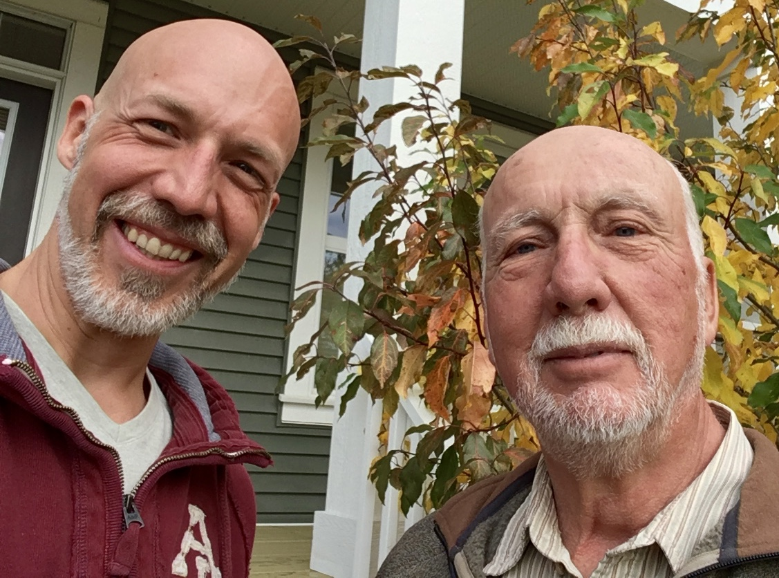 In case you're wondering which of these bald, grey-bearded Séguins is which,my dad's the handsome,dignified one.
