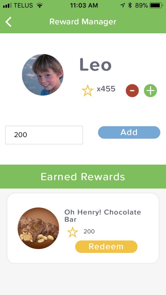 Tap the + or - symbols to add or subtract stars from your child's balance.