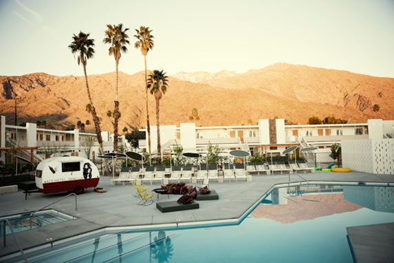 Let's stay at the amazing  Ace Hotel  in Palm Springs, California. We'll sleep soundly in their giant beds, play records (maybe  this one ) and drink a thousand Margaritas