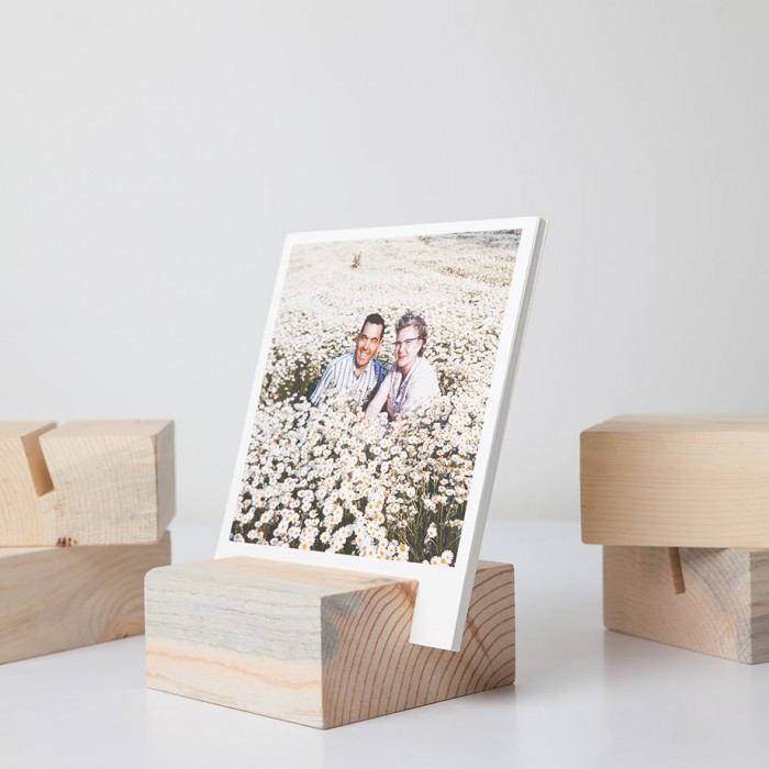 wood block print photo holder