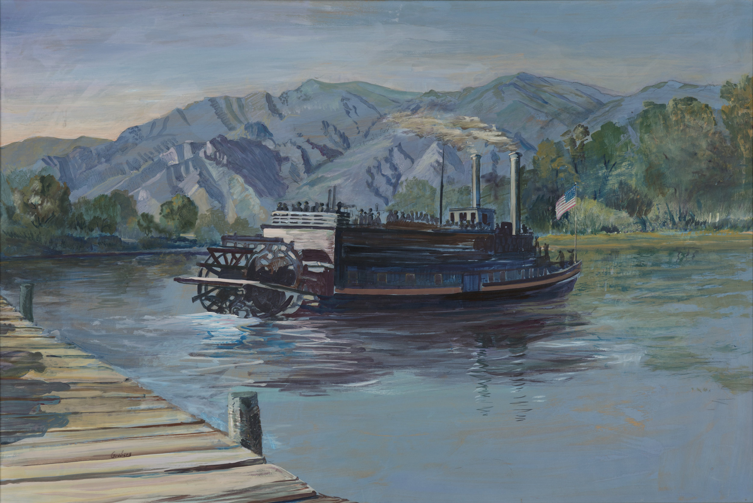 """City of Corinne - Paddle Wheeler"" by Charles A. Groberg. Courtesy of Weber State University and Bill Child."