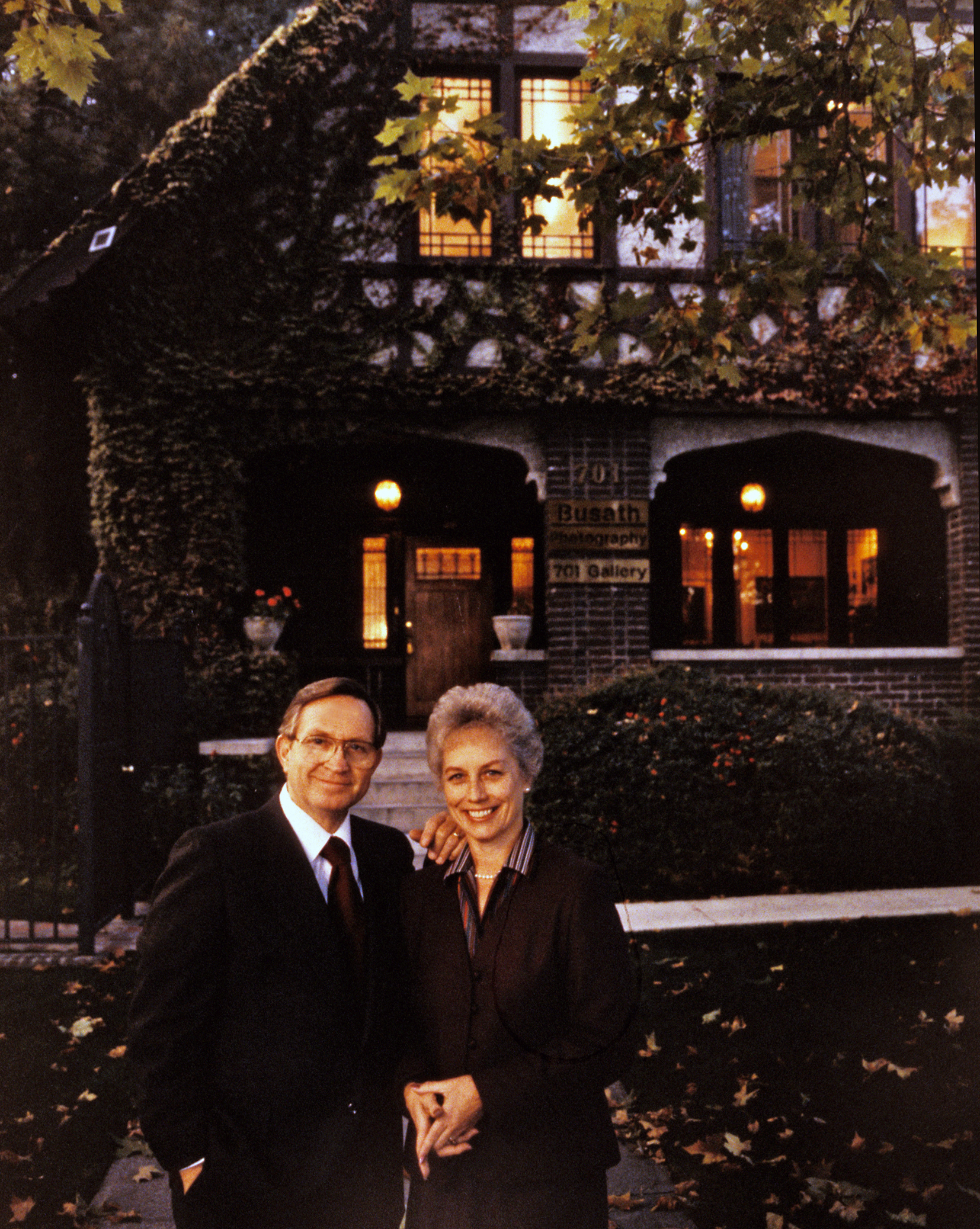 Don and Donna Busath outside their South Temple photo studio in Salt Lake City.