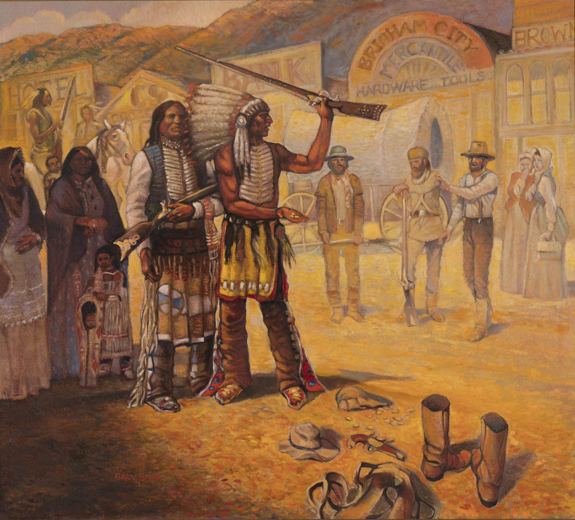 """Chief Pocatello at Brigham City"" by Gary E. Smith (Image courtesy Weber State University)"