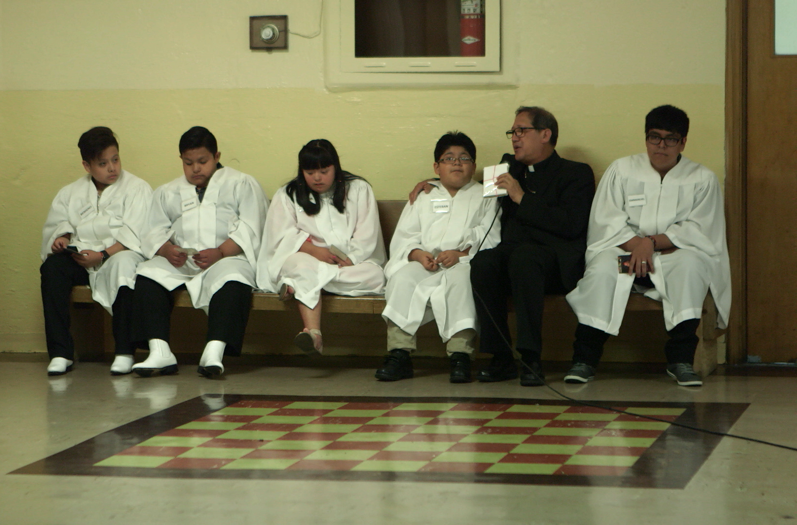 Bishop Solis met with youth prior to celebrating the Confirmation Mass.