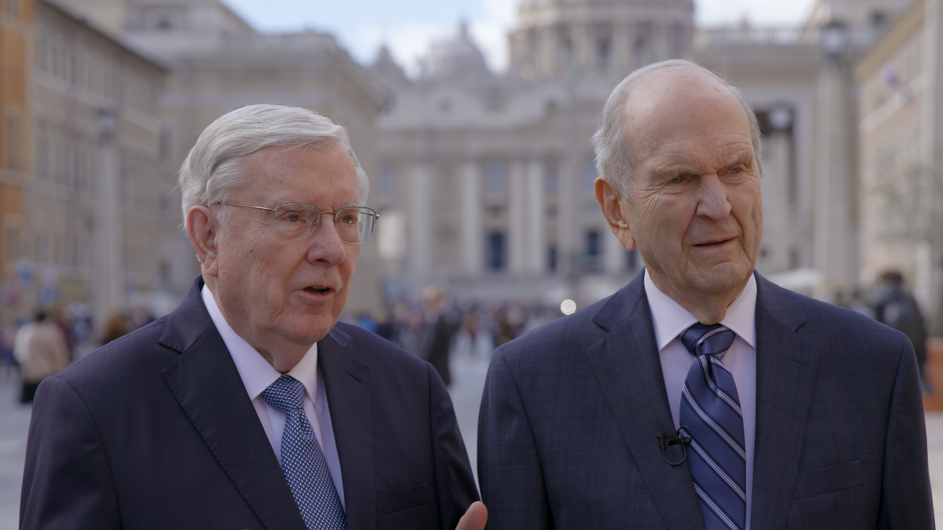 President Russell M. Nelson, and Elder M. Russell Ballard did an interview outside the Vatican after meeting with Pope Francis.