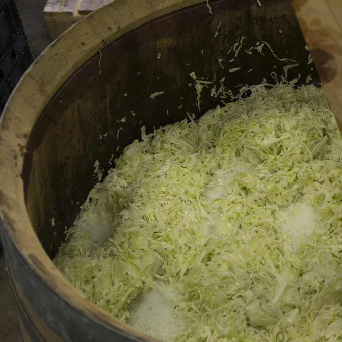 Caraway Kraut  - Traditional sauerkraut, simply made with cabbage, caraway seed, and salt. Delicious.