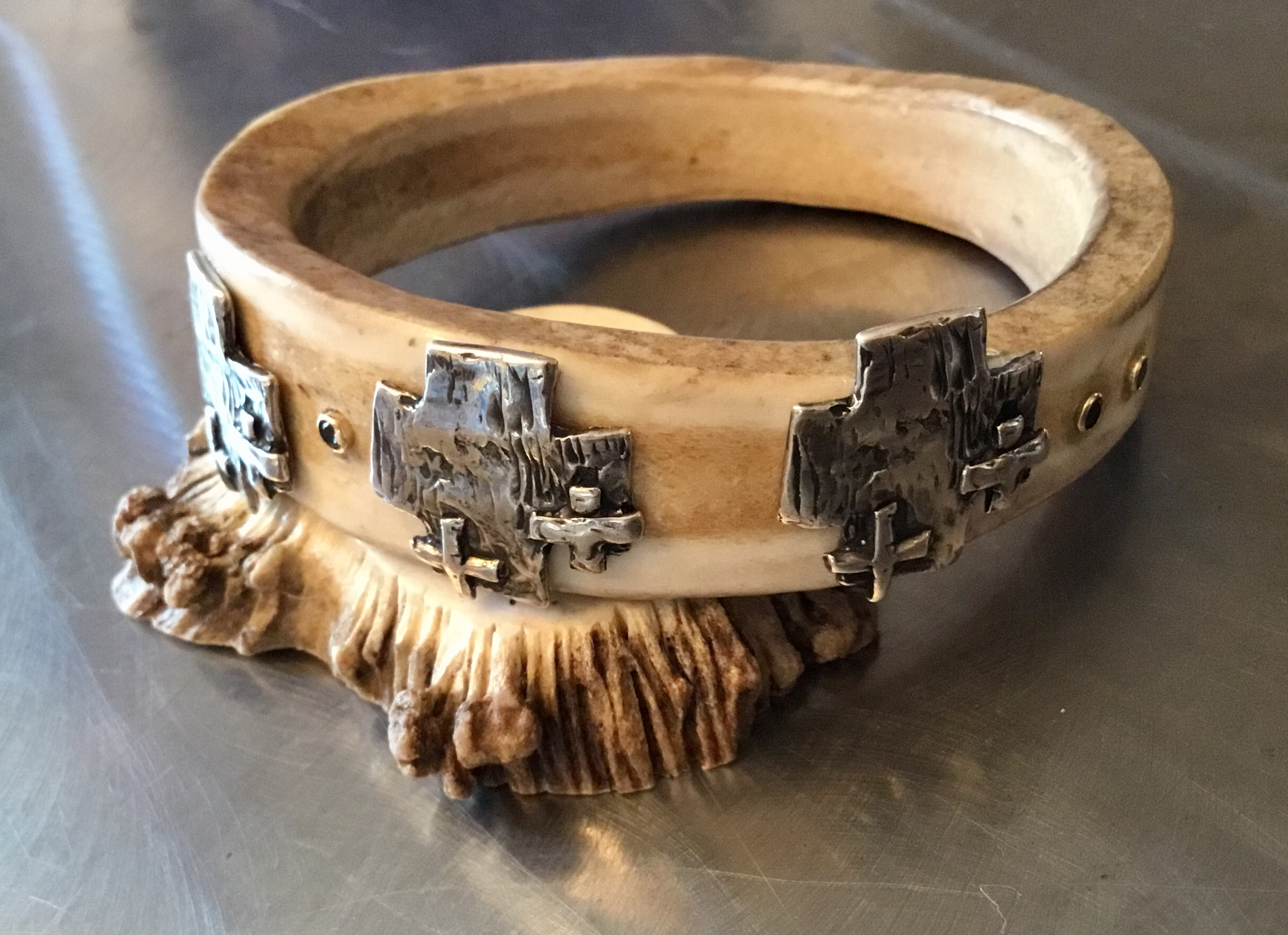 Elk Antler cuff with sterling crosses.