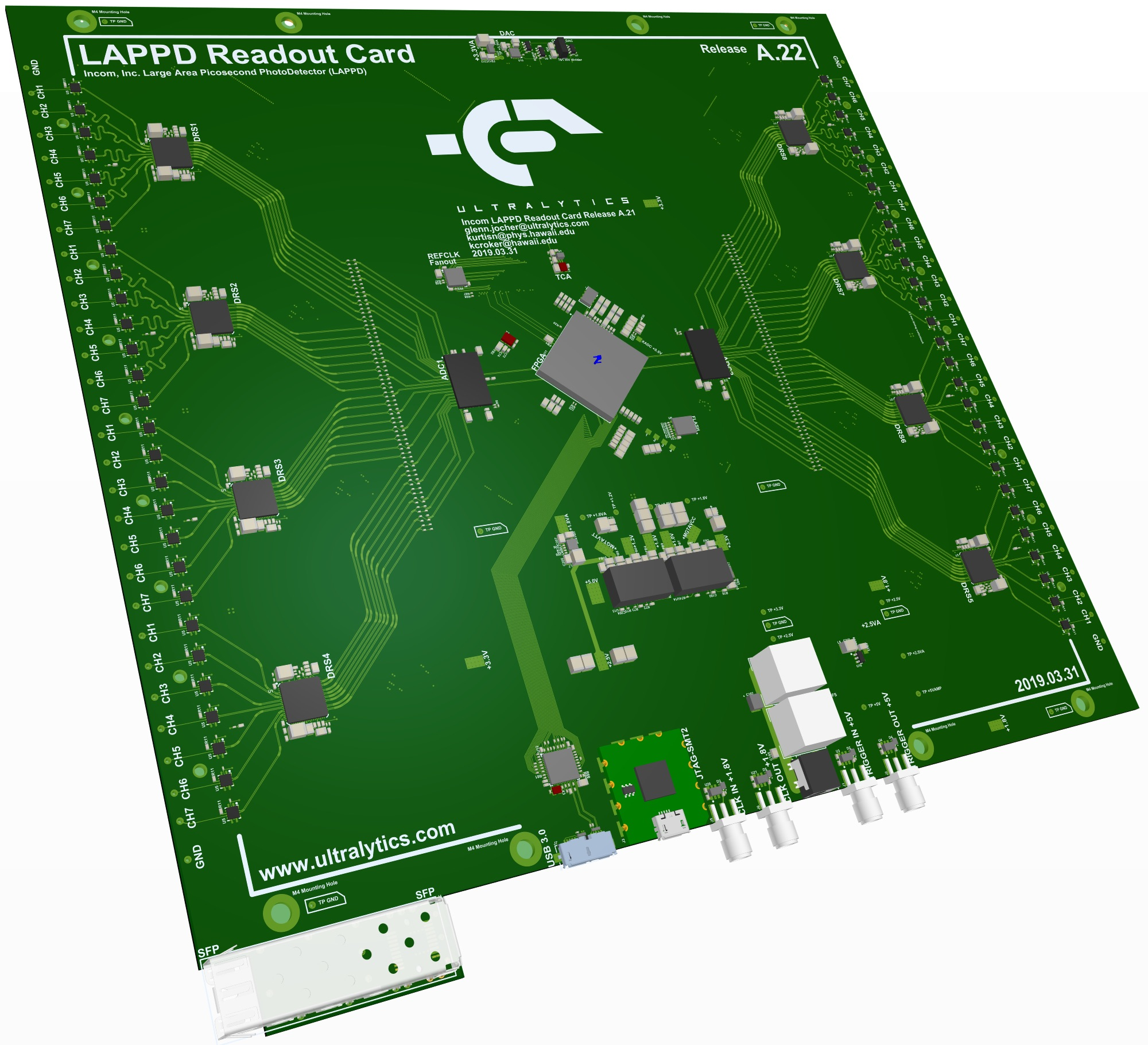 ultralytics large area picosecond photodetector (LAPPD) readout card.