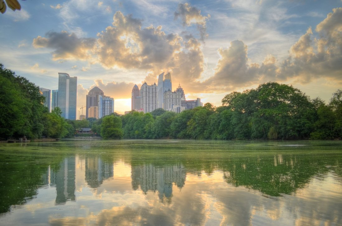 Lake Clara Meer at dusk in Piedmont Park, Midtown Atlanta. Photo via  AuburnATL