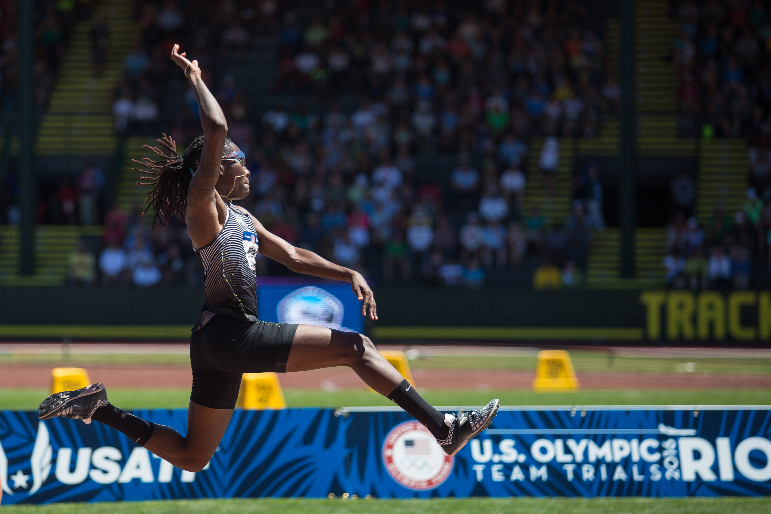 Brittney Reese, long jump, Ole Miss alum and Olympic qualifier.  Photo by Dillon Vibes.