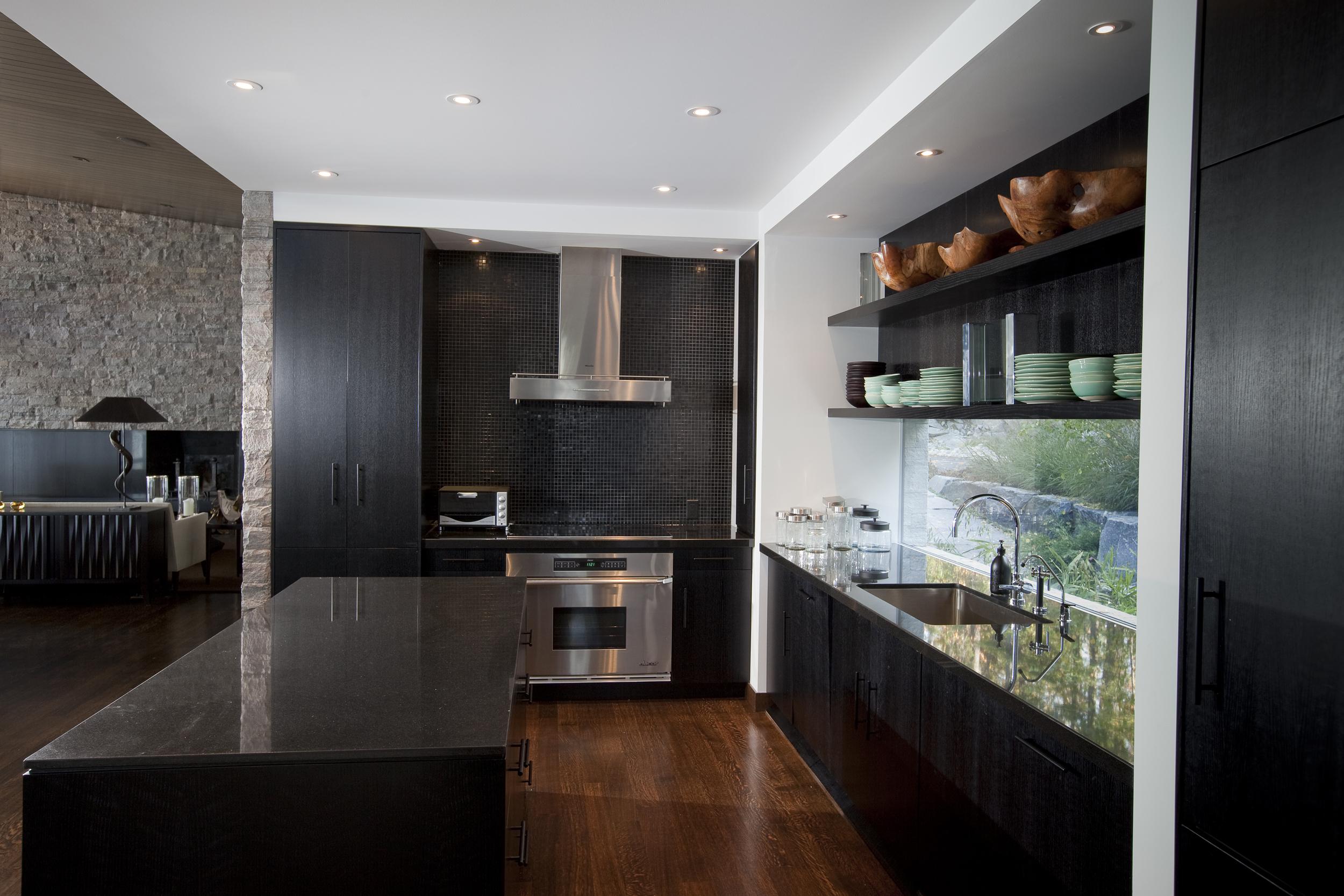 minimalist kitchen with modern appliances and kitchen island