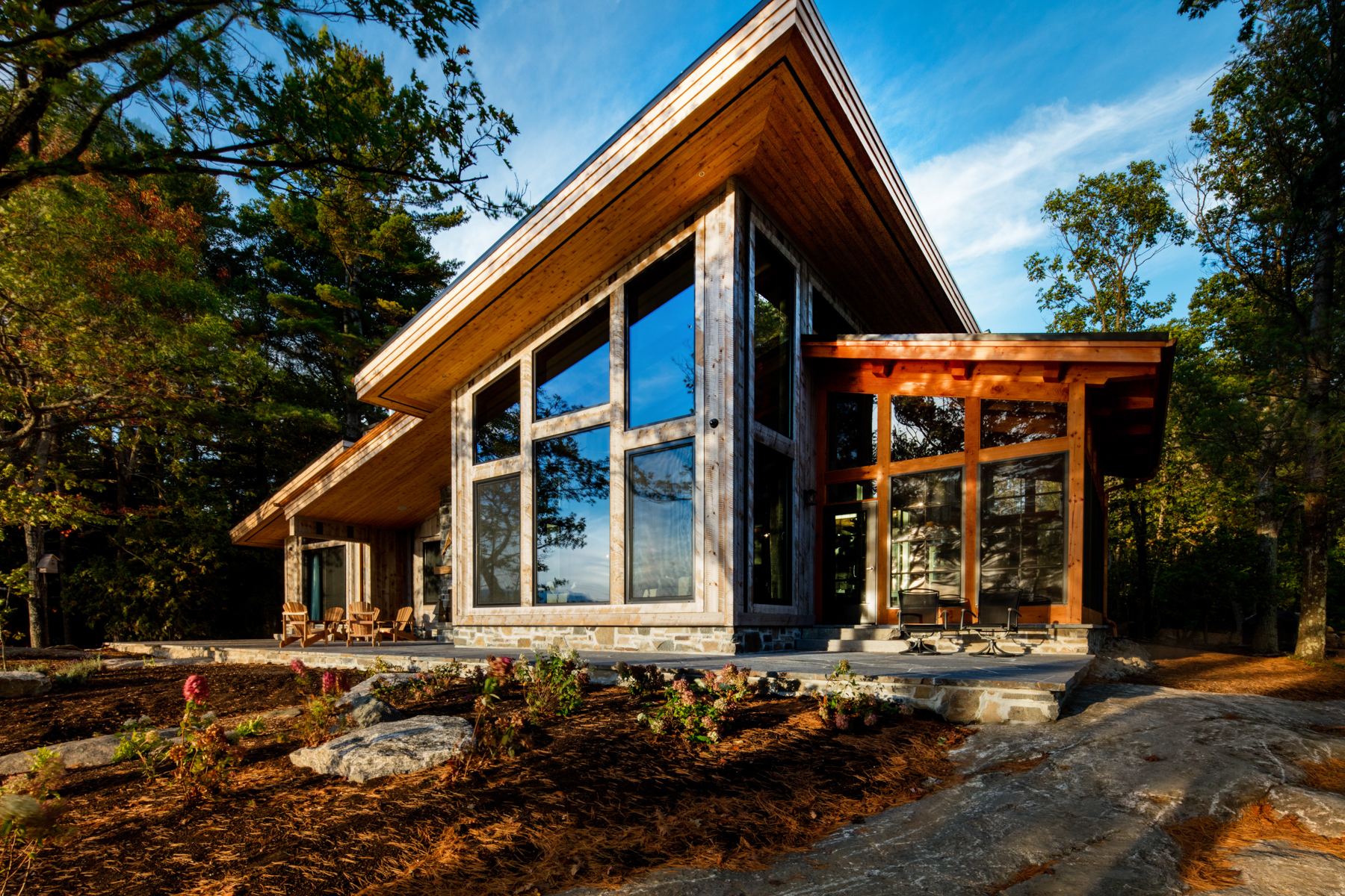 Modern Home Exterior Design with Wood Framing