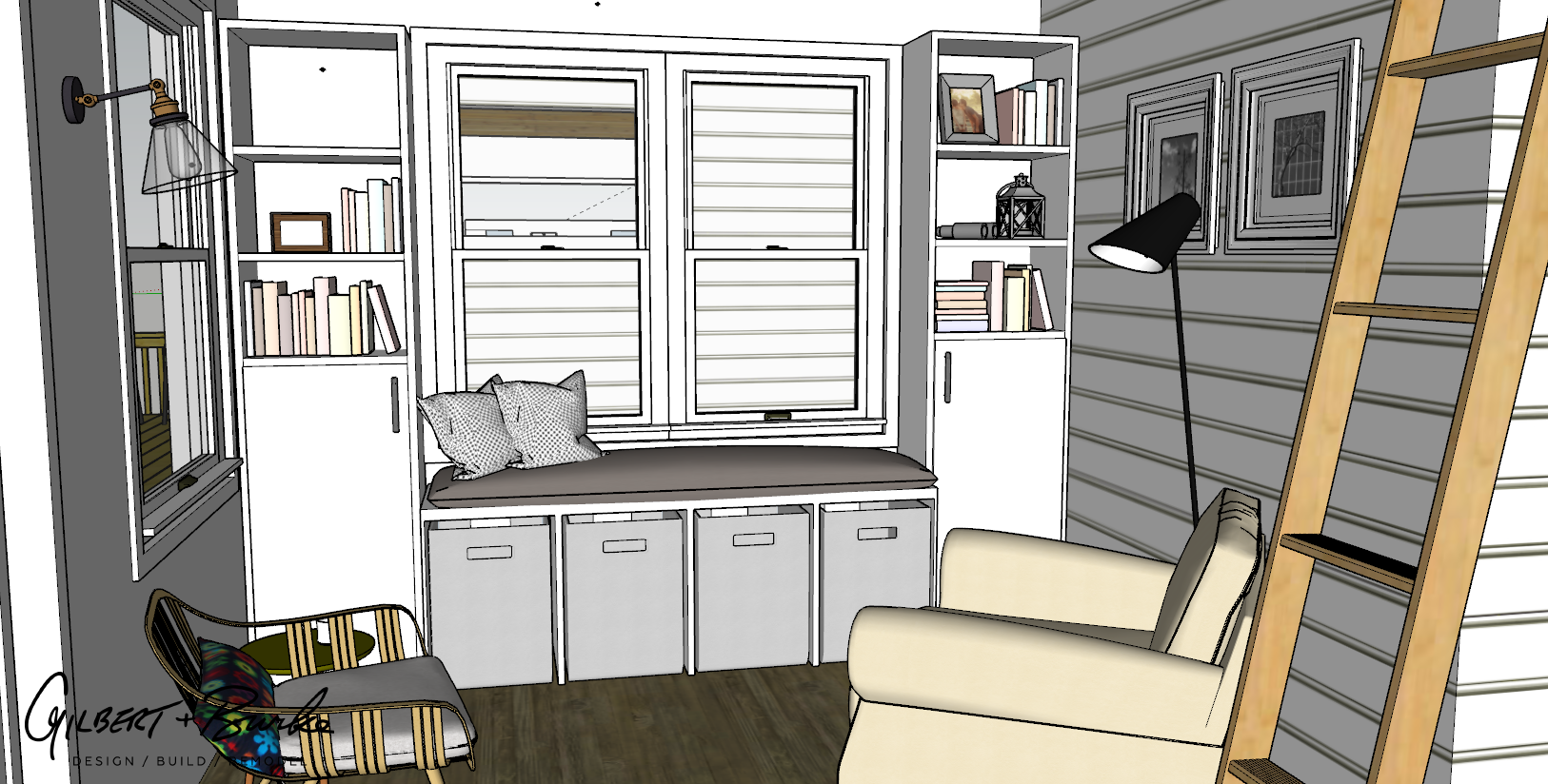 rough sketch concept of a small room with a window