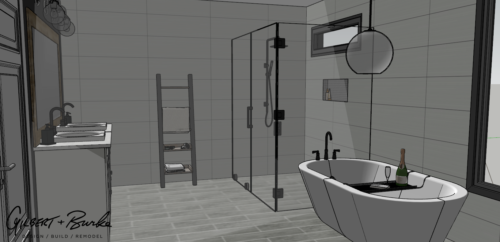 design sketch of a spacious minimalistic bathroom with a sink, white bathtub, and clear standing shower