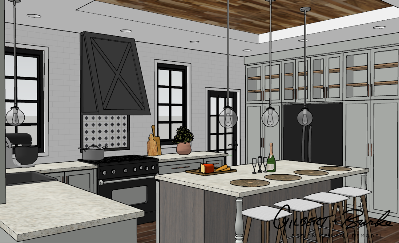 concept sketch of traditional kitchen with an island and kitchen stools