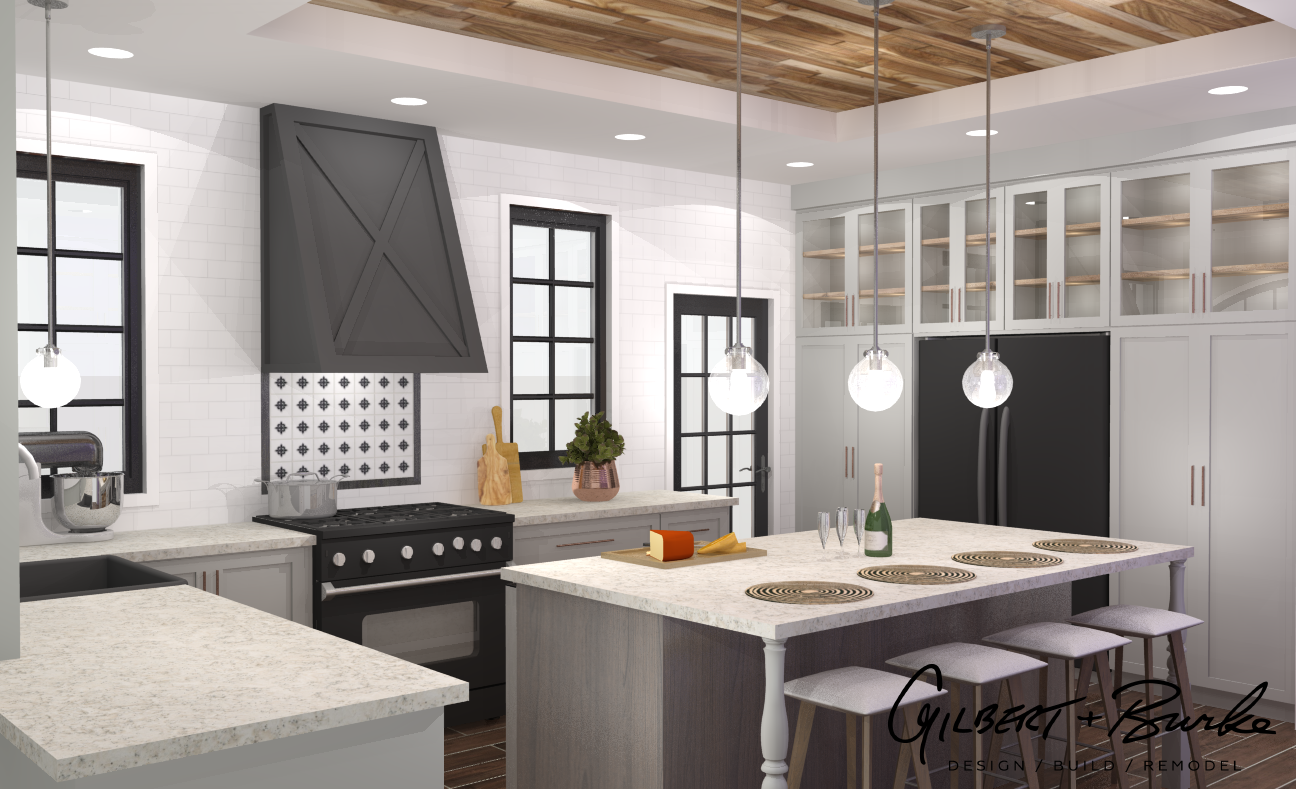 concept traditional kitchen design with bright lighting, marble counter tops, and kitchen stools in front of an island