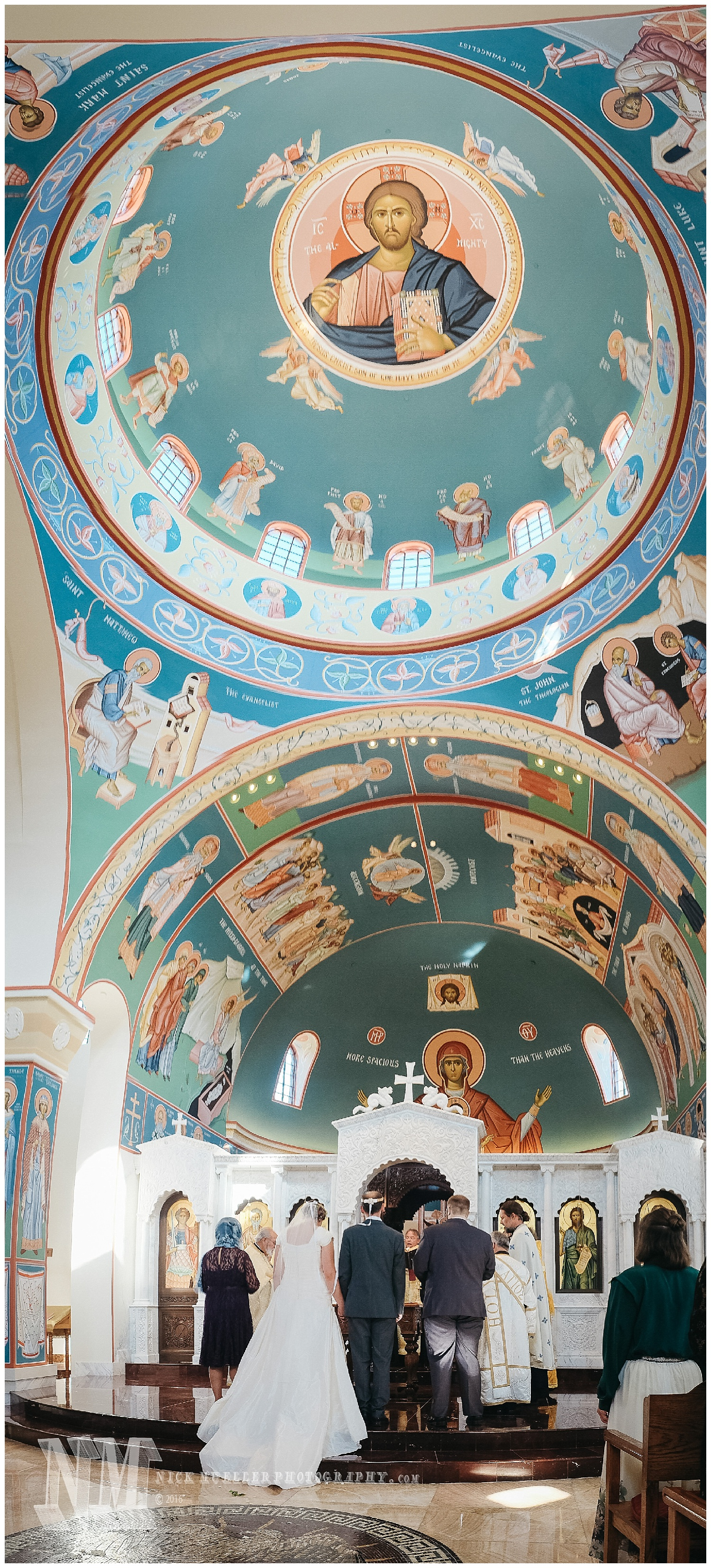 Bride and Groom under the Jesus Christ Pantocrator Icon in Dome