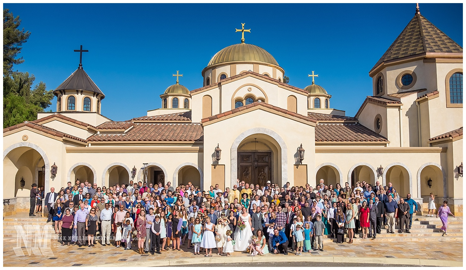 The Entire Wedding Group in Front of Saint Andrew Orthodox Church Riverside CA