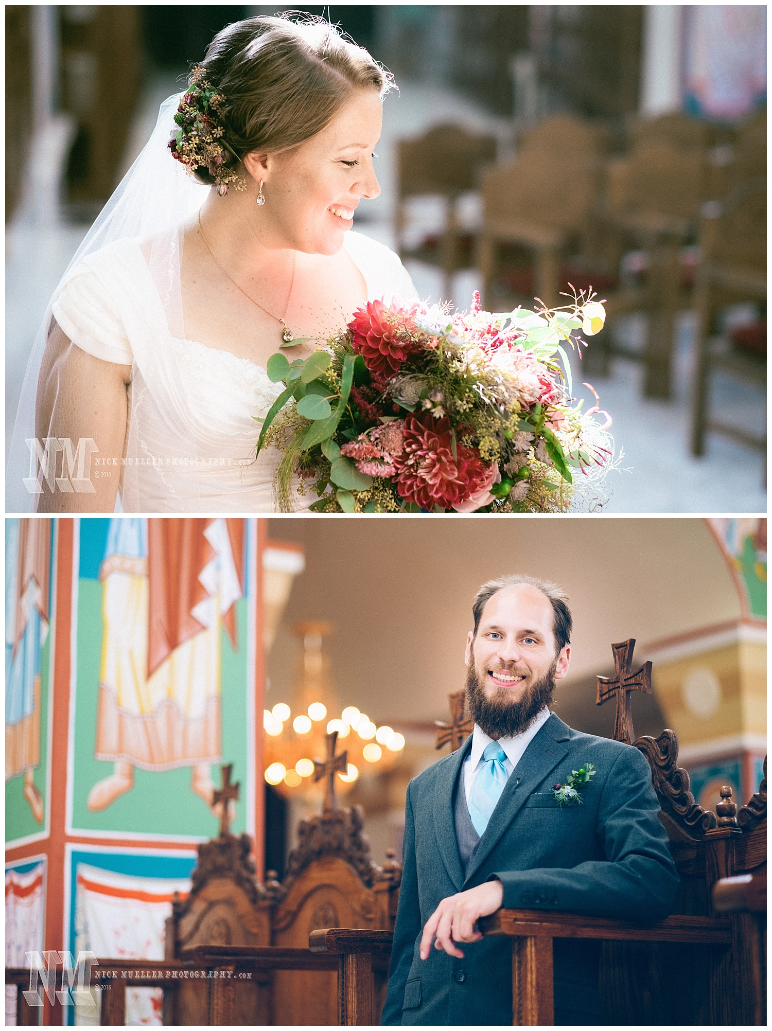 Bride and Groom Portraits inside Orthodox Church