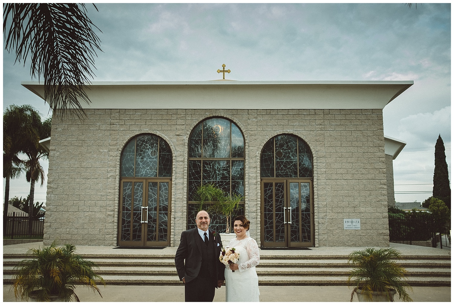 Bride and Groom Portrait in Front of St. Luke's Orthodox Church