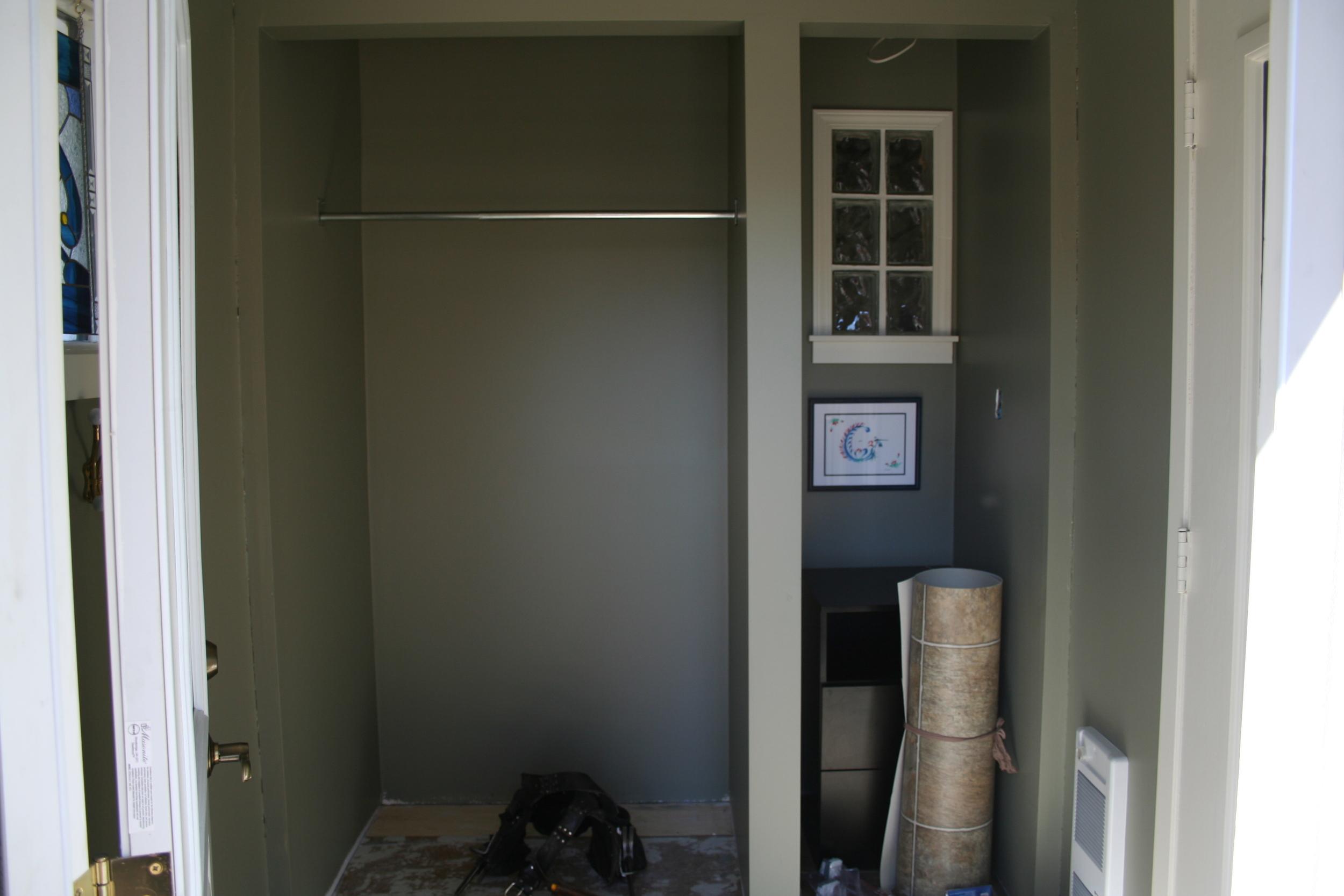 Before pic entry way renovation saskatoon, custom closet and storage