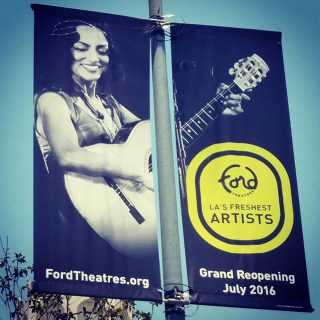 How very cool to discover a photo of @redgiselle74 from our performance at @fordtheatres being used for their grand re-opening banners all along Highland in #Hollywood! #theblueagave #johnansonfordamphitheater #fordamphitheater #guitarrista