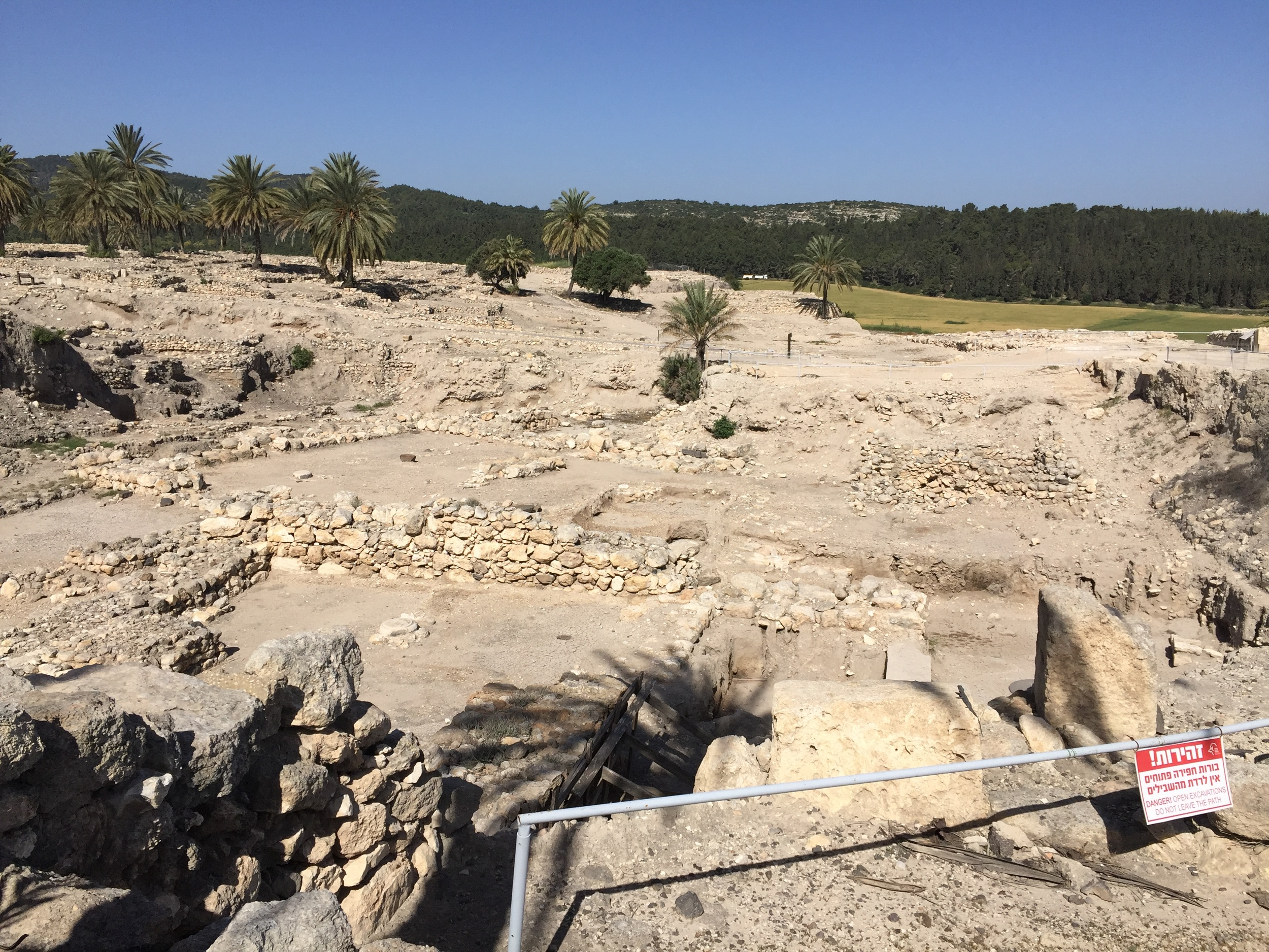 The Megiddo Tel-Excavated to show ruins of an ancient city.