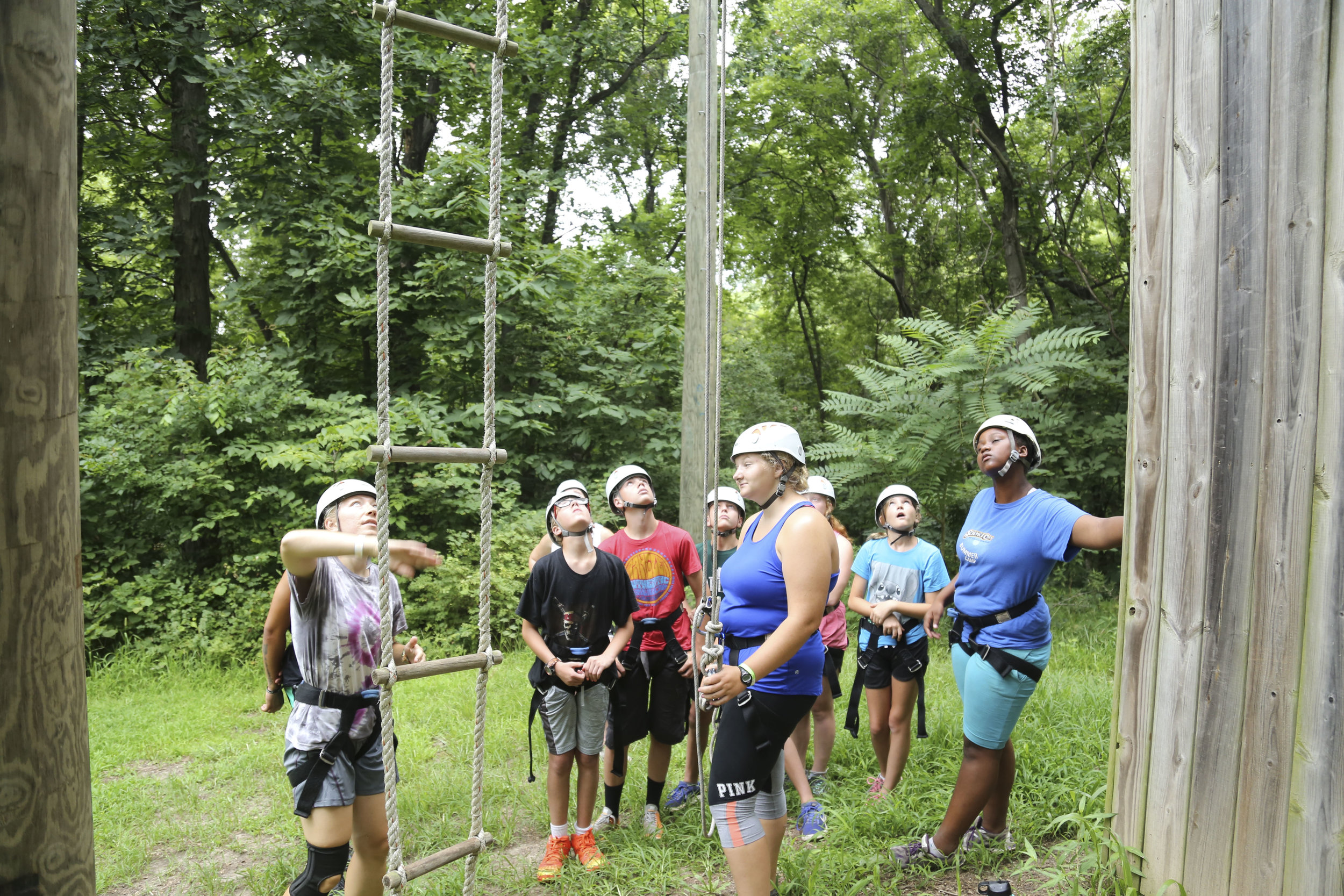 """The Challenge Course was a big hit with our Edge Campers! They did a great job on the """"Vertical Play Pin""""."""