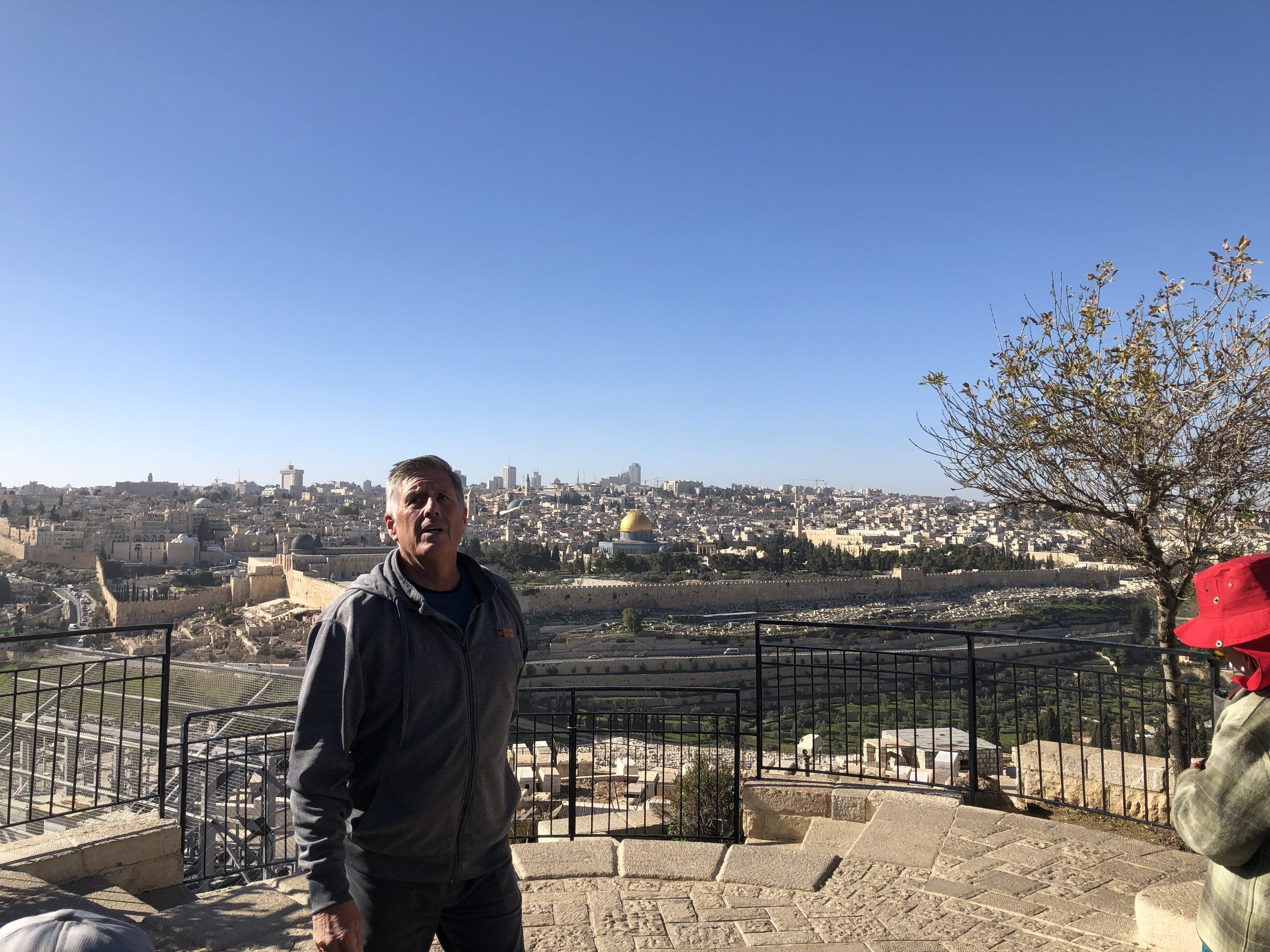 Pastor Randy bringing the word on the Mount of Olives