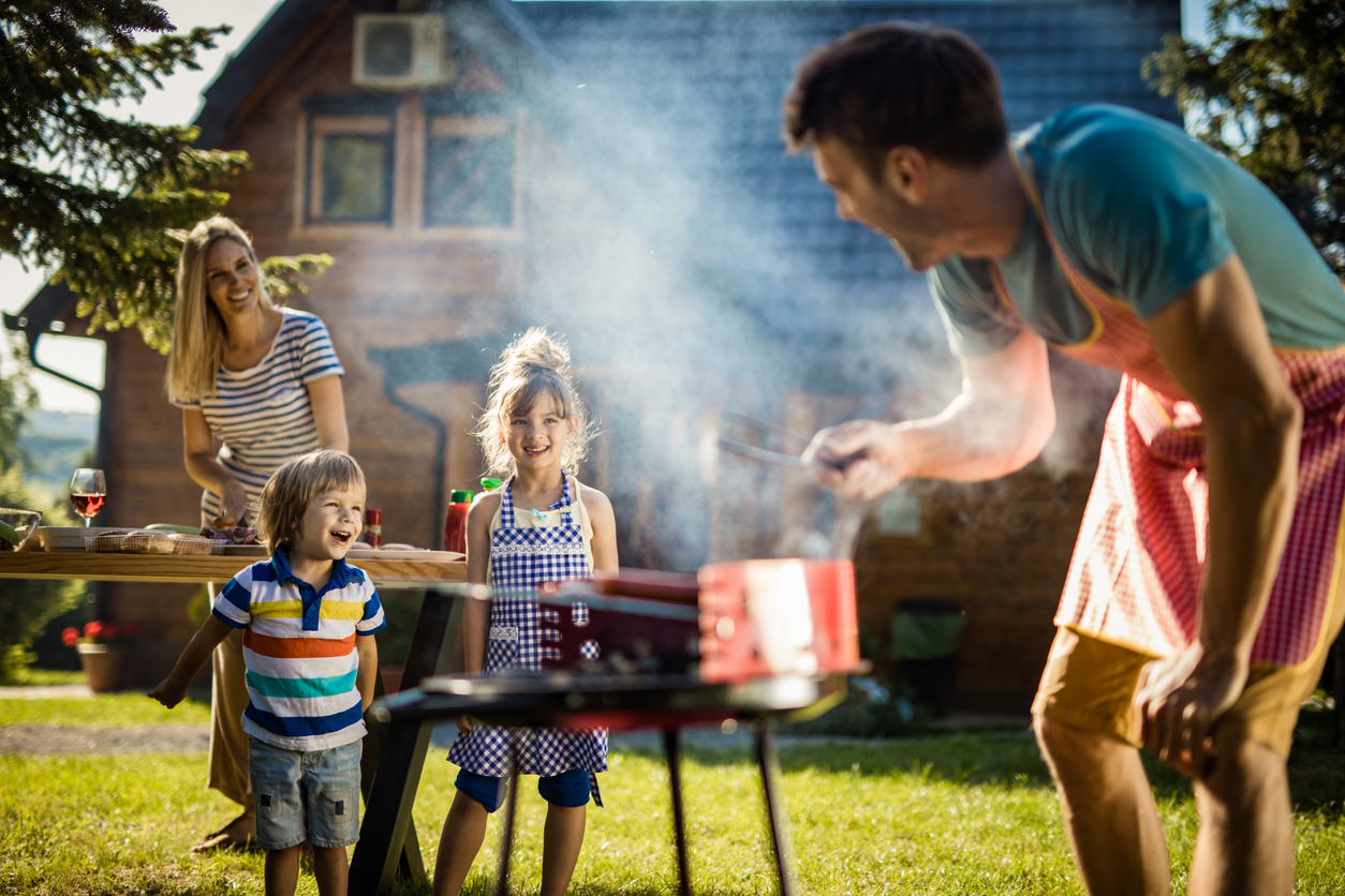 family cookout in backyard