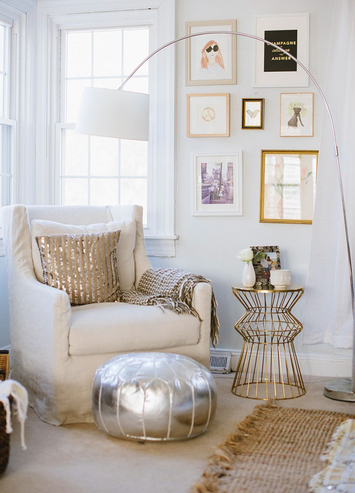 The light tans and champagne accents of this space will be a nice lift from the dark clouds out your window. Put some light colors and a nice glowing lamp near your spot and you're set. But if you can't figure it out, remember: champagne is always the answer.