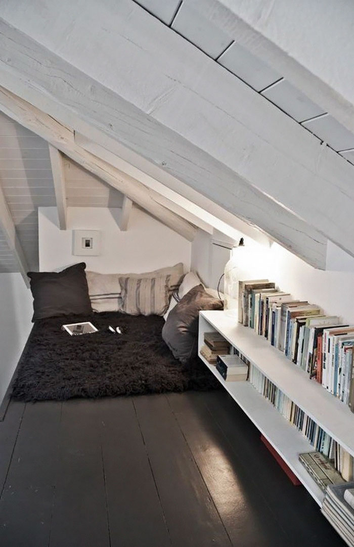 This one is pretty self-explanatory and simple. Use some of that attic space you've been unsure what to do with for a Personal Time Nook. Hear the rain pitter-patter on your roof as you get to Chapter Seven.