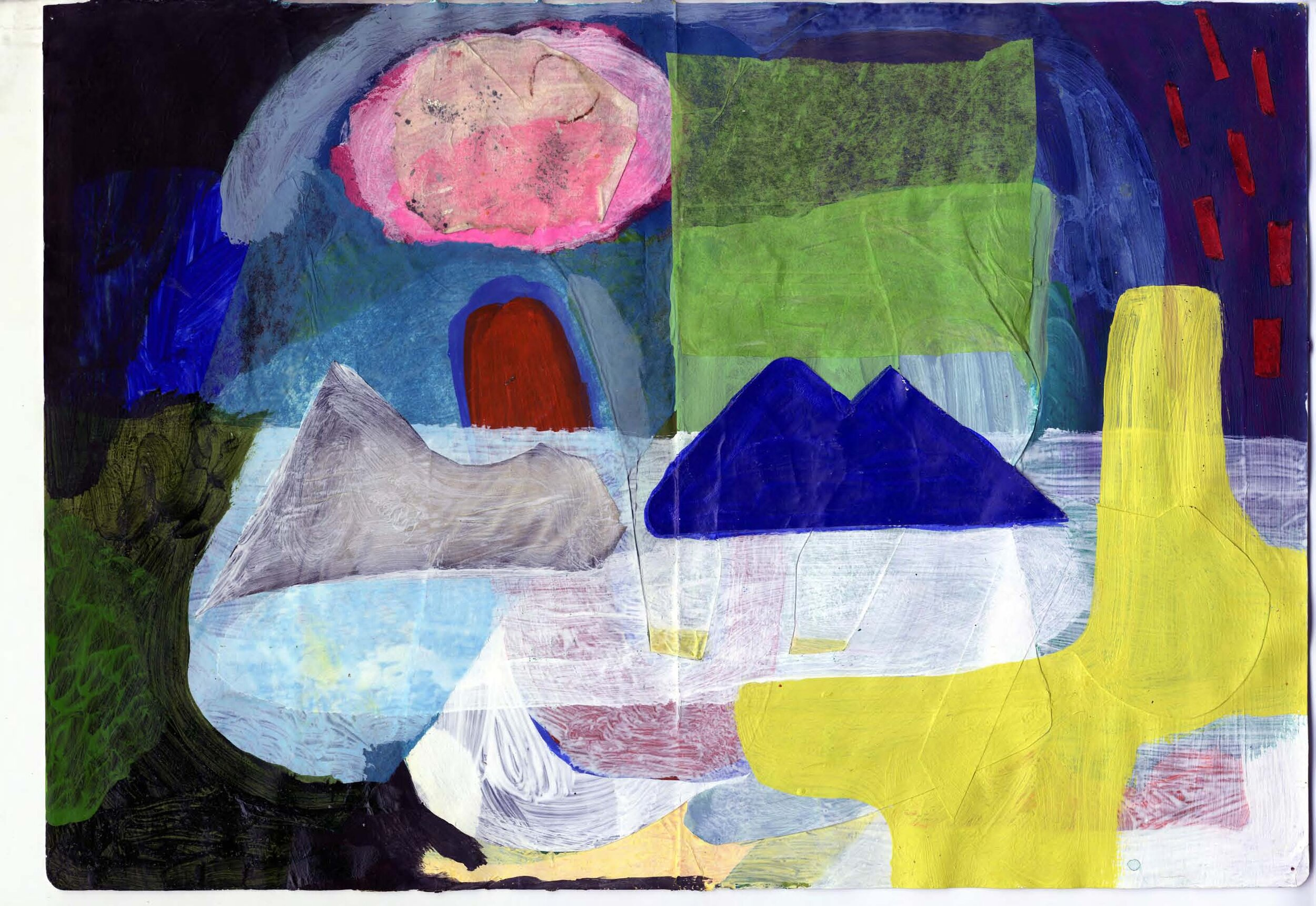"""""""Big Lake""""  Gouache, acrylic and paper on paper  11.5 X 16.5 """"  2014"""